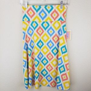 LuLaRoe Azure Blue Yellow Coral on White Size S